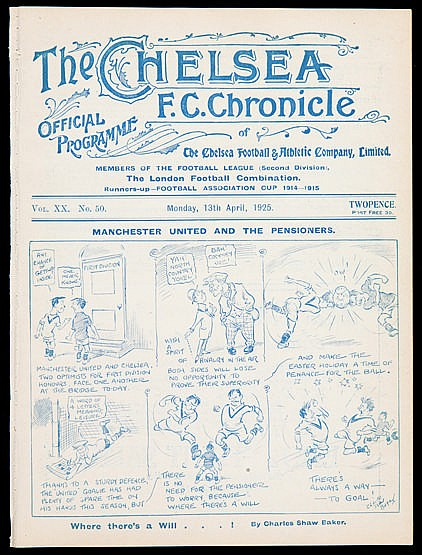 Chelsea v Manchester United programme 13th April 1925, ex-bound volum