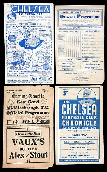 Chelsea programme collection,  all contained in sleeves within an albu