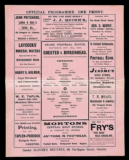 Chester v Birkenhead programme 12th October 1907
