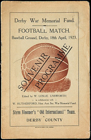 A programme for the Derby War Memorial Fund Football Match Steve Bloom