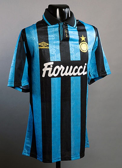 Dennis Bergkamp blue & black striped FC Inter Milan No.10 jersey seaso