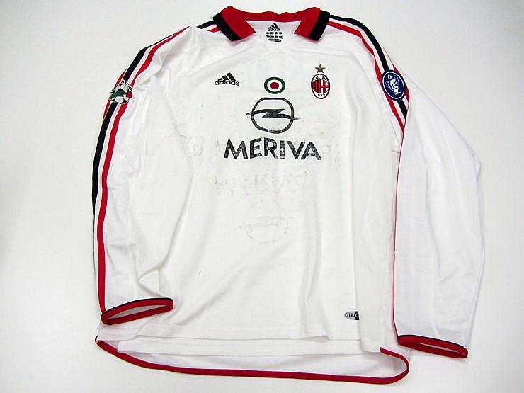 Paolo Maldini: A white AC Milan Serie A away jersey seasob 2003-04, l