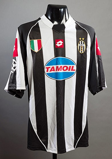 Mark Iuliano black & white striped Juventus No.13 Champions League jer