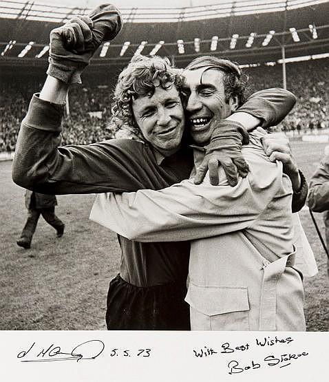 A large b&w; photographic print signed by Sunderland manager Bob Stokoe