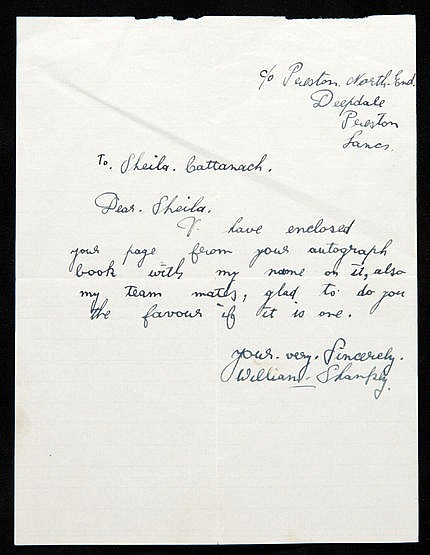 A manuscript letter featuring the full signature of Bill Shankly circa