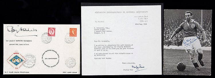 Sir Stanley Matthews signed Monaco postal cover commemorating his Test