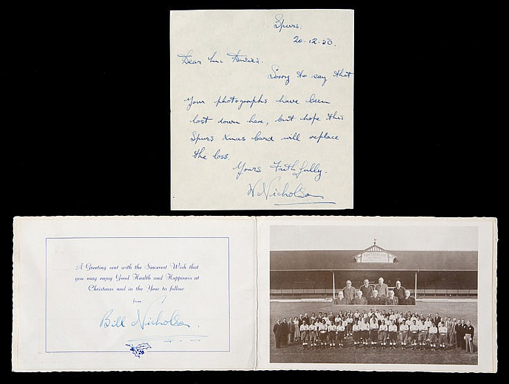 Bill Nicholson signed Tottenham Hotspur Christmas Card and signed cove