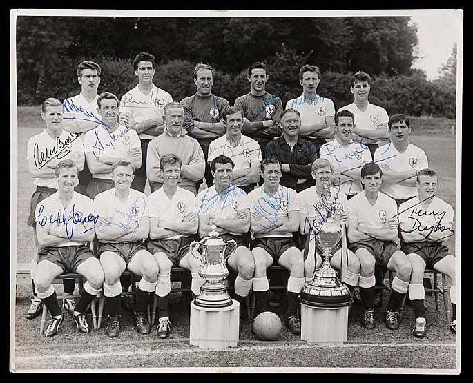 An autographed Tottenham Hotspur 1960-61 double winning team photograp