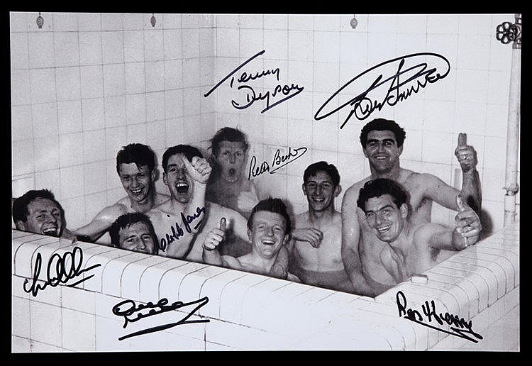 Signed Tottenham Hotspur 1961 F.A. Cup Final photograph, 8 by 12in. b