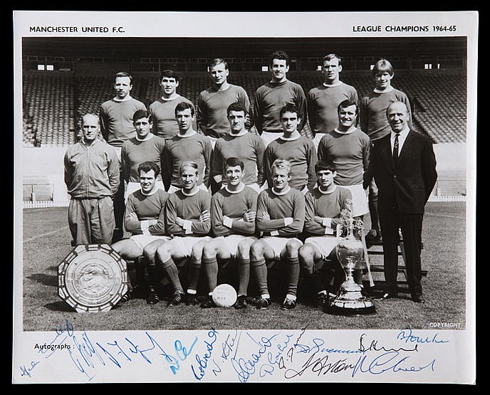 Manchester United signed 1964-65 team-group photograph,  8 by 10 b&w.;,