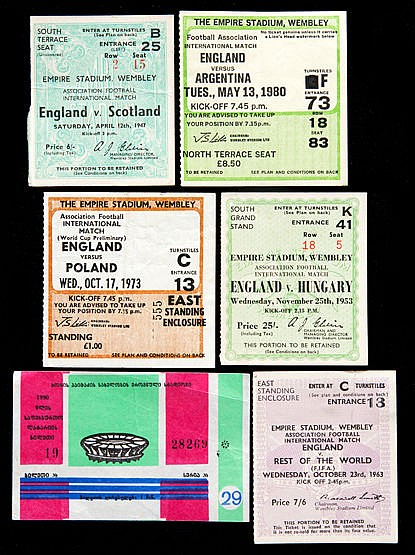 England football team ticket collection dating between 1947 and the la