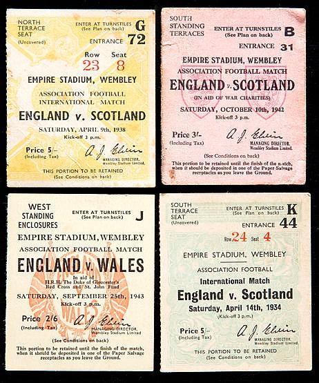 14 England football team ticket collection 1934 to 1945, England v Sc