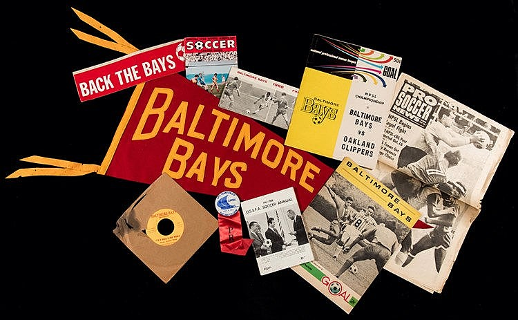 Baltimore Bays soccer memorabilia 1967-1969,  including pennant, press
