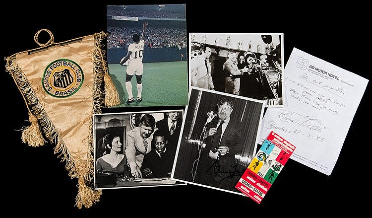 Pele New York Cosmos memorabilia, including a photocopy of Pele's fir