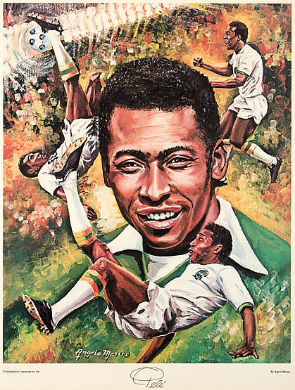An Angelo Marino colour print featuring Pele in New York Cosmos unifor