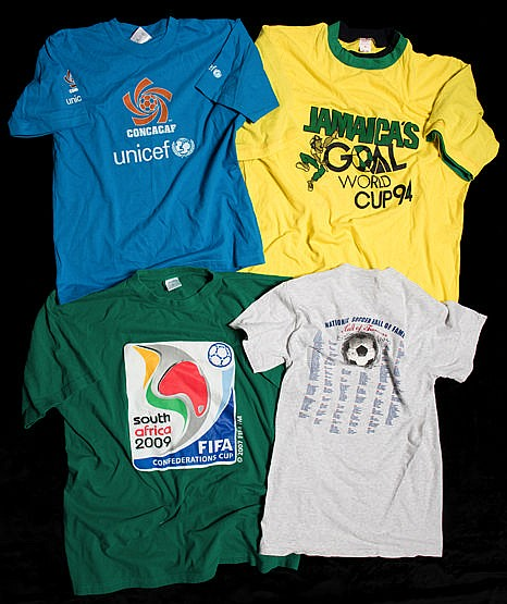 A collection of football t-shirts and other clothing,  replica jerseys