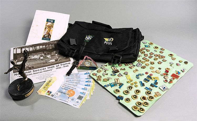 Miscellany of football memorabilia,  pin badges, videos & dvd's, photo