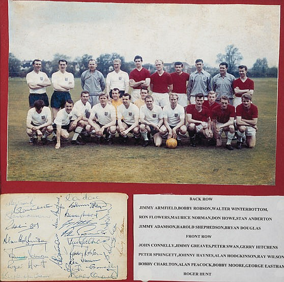 Signed England 1962 World Cup squad presentation,  comprising an album