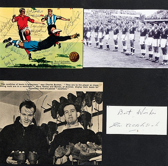 Signed Wales 1958 World Cup presentation,  12 signatures signed across