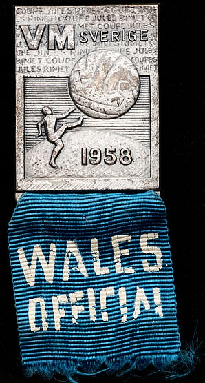 A 1958 World Cup participant's badge for a Welsh football official,  t