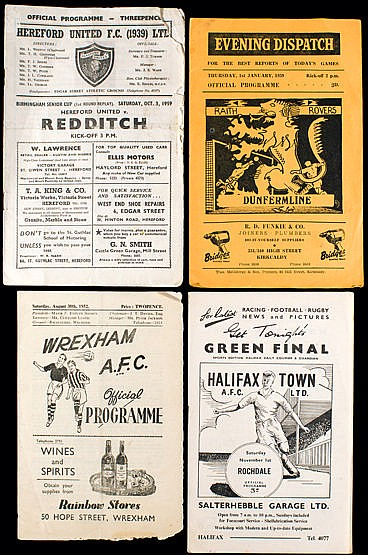 A collection of mostly 1950s football programmes, with a good represe