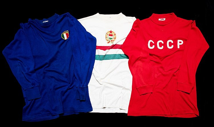 A trio of Umbro Shop Display 1966 World Cup international shirts,  com