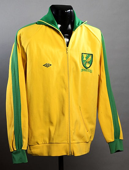 Roger Hansbury Norwich City 1975 League Cup Final track suit top,  yel
