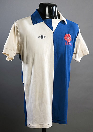 A blue & white halved Blackburn Rovers No.2 jersey season 1976-77,  sh