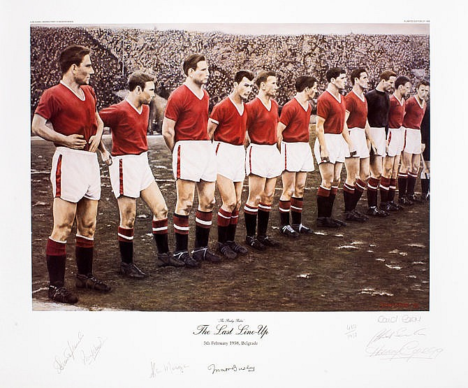 Manchester United 'The Last Line Up' limited edition print,   this exa