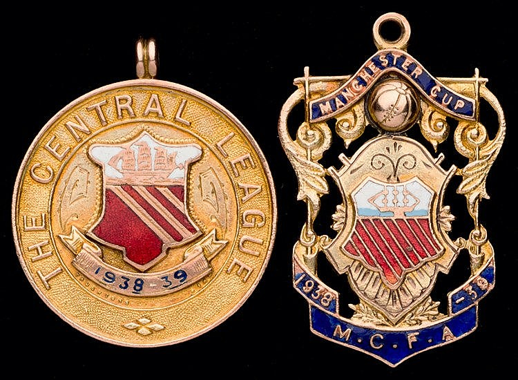 Two 9ct. gold & enamel winner's medals awarded to Jack Smith of Manche