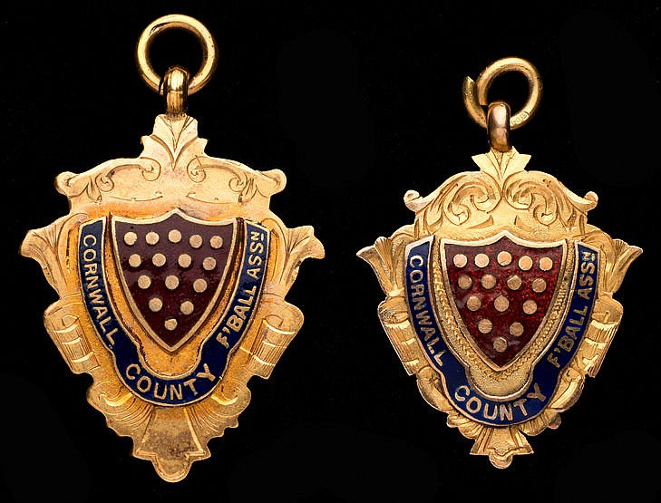 Two 9ct. gold & enamel Cornwall County Football Association winner's m