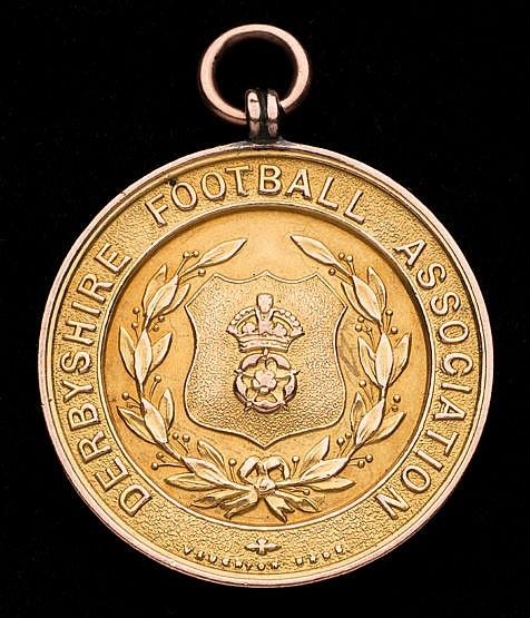 9ct. gold Derbyshire Football Association Long Service Award medal,  p