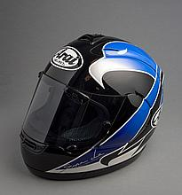 Kenny Roberts Junior 1999 race worn helmet and Suzuki leathers,   the