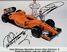 Mika Hakkinen & David Coulthard double-signed publicity photograph pos