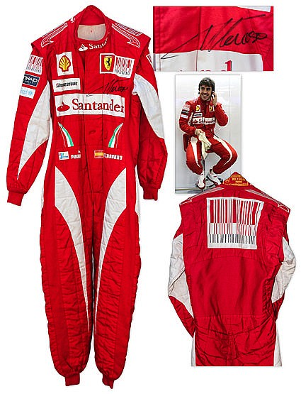 Fernando Alonso race-worn & signed Ferrari racing suit from the 2010 F