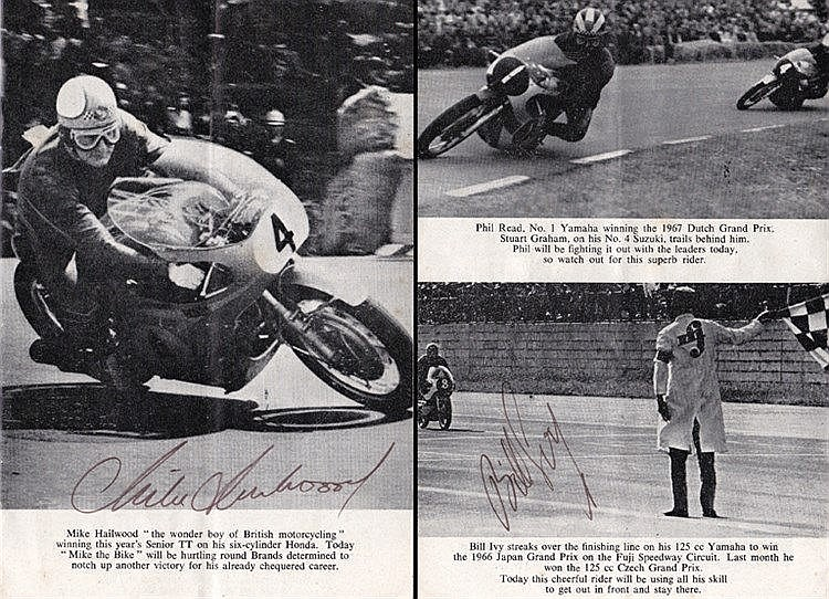 Mike Hailwood and Bill Ivy signed 1967 'Hutchinson 100' Brands Hatch p
