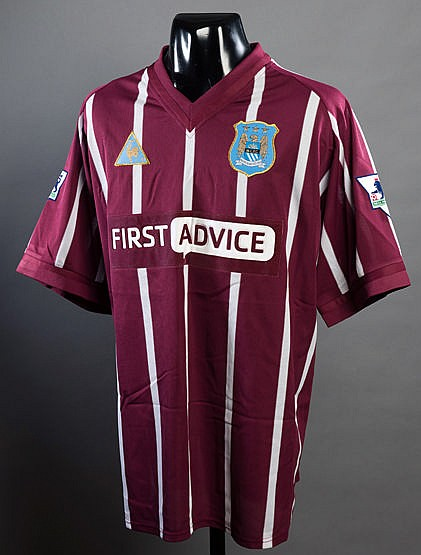 Sylvain Distin claret & white striped Manchester City No.5 jersey seas