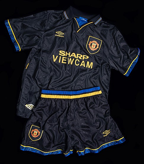 Manchester United Youth Team kit circa 1994,  a black Manchester Unite