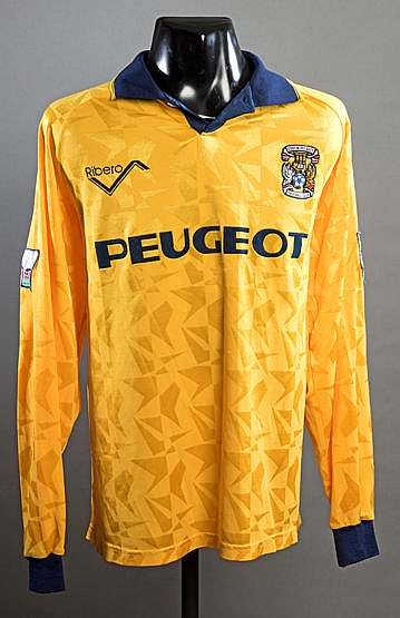 Yellow Coventry City No.3 away jersey from the first season of the Pre