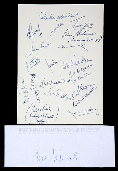 A fine set of signatures of England's first World Cup sqaud of 1950 c
