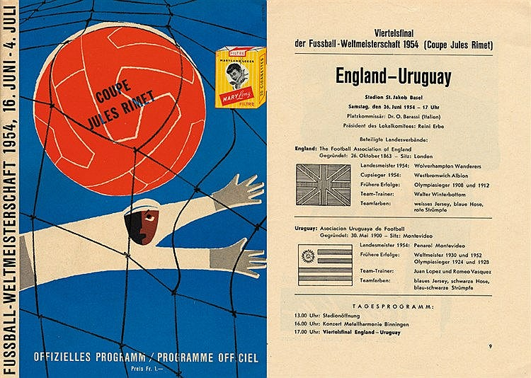 1954 World Cup quarter-final programme England v Uruguay,  32 pages