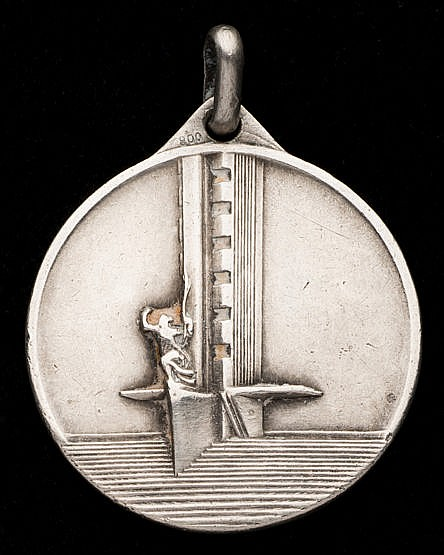 The rare hallmarked .800 silver version of the 1930 World Cup medal,