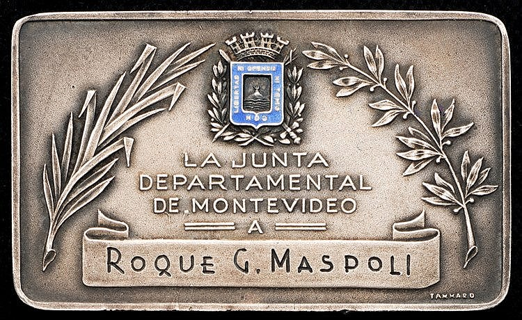 Medal plaquette presented to the Uruguayan 1950 World Cup winning play