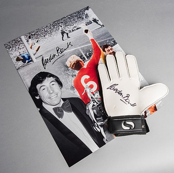 Gordon Banks signed goalkeeping glove, sold together with a Gordon Ba