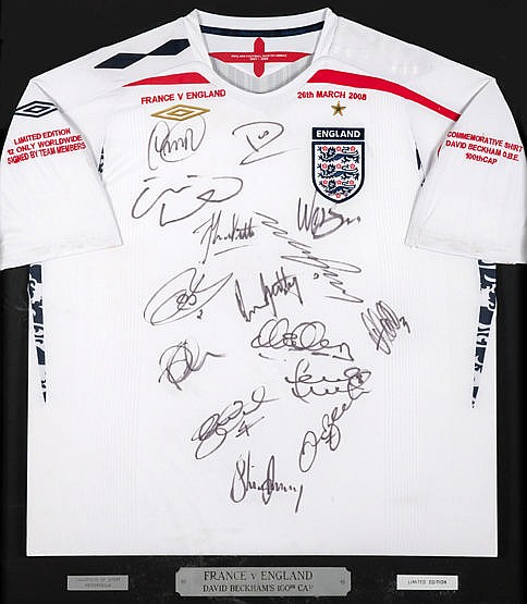 A limited edition team-signed England shirt commemorating David Beckha