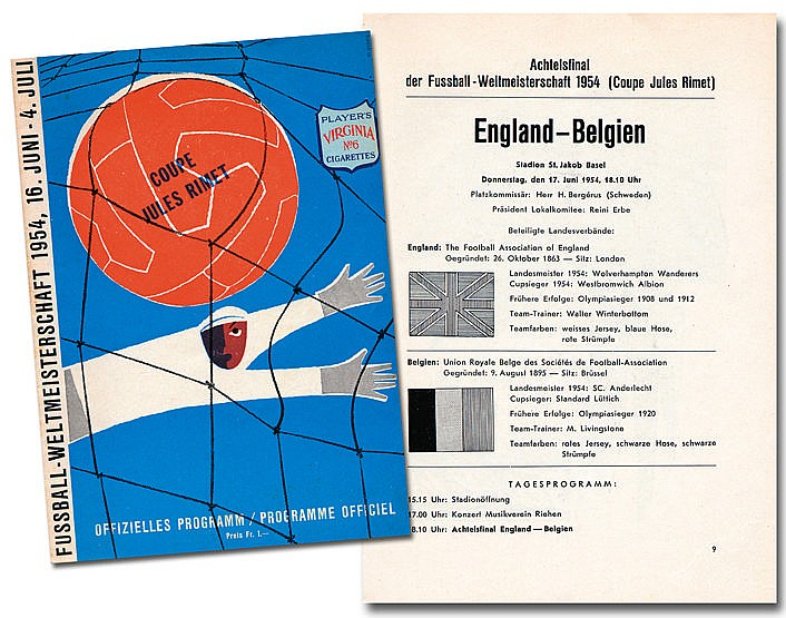 1954 World Cup programme England v Belgium, 17th June in Basel, 32 pa