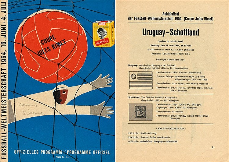 1954 World Cup programme Uruguay v Scotland, Group 3 match, 32 pages,