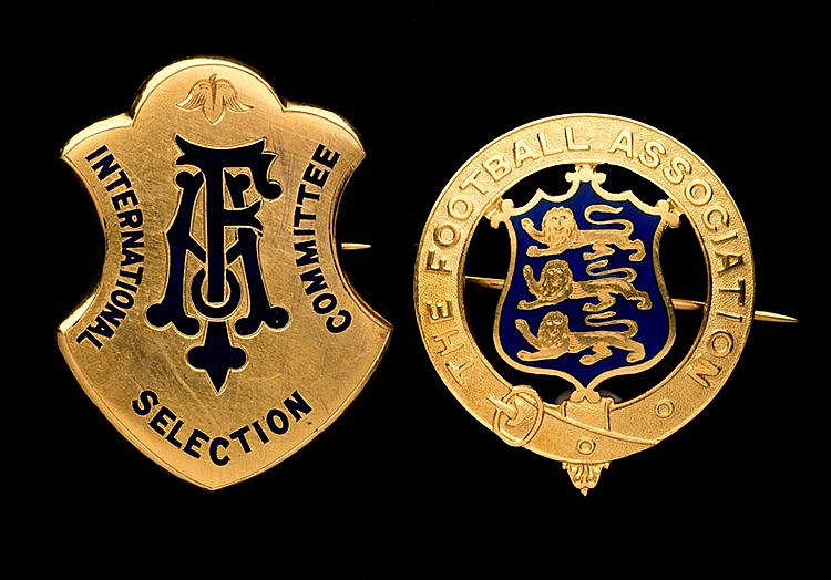 Two 9ct. gold & enamel Football Association official's badges,  the fi
