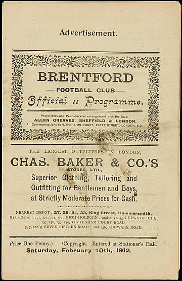 Brentford v Queen's Park Rangers programme 10th February 1912,  Southe