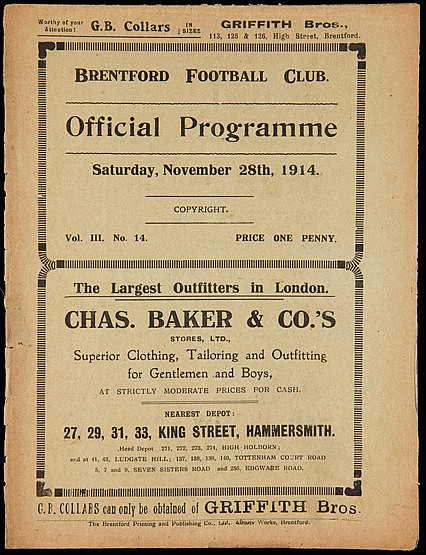 Brentford v Abertillery programme 28th November 1914,  paper fragile